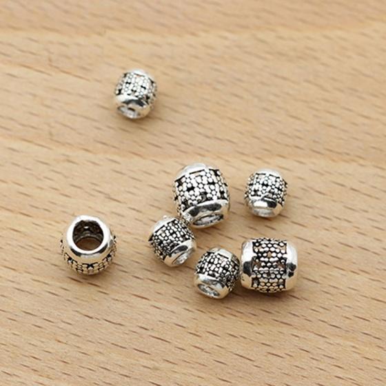 Charm bạc chặn hạt hoa văn kích thước 6mm