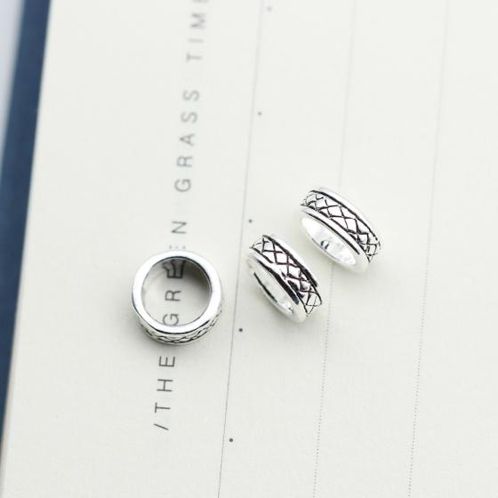 Charm bạc chặn hạt họa tiết hoa văn 3.1x7.5mm