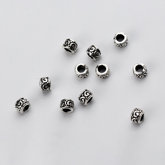 Charm bạc hình trụ chặn hạt họa tiết hoa văn 3.5mm