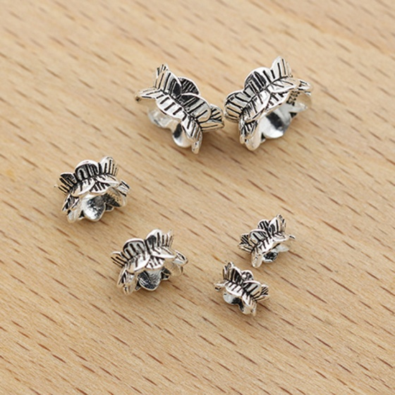 Charm bạc chặn hạt họa tiết hoa sen 2 đầu 8mm