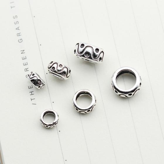 Charm bạc chặn hạt tròn họa tiết hoa văn 6mm