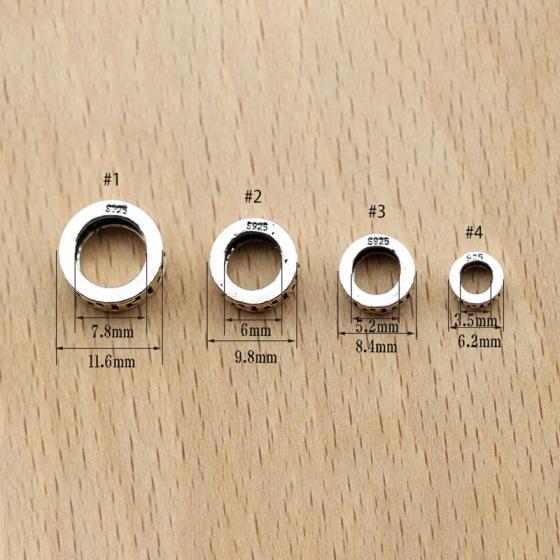 Charm bạc chặn hạt họa tiết hoa văn 6.2mm
