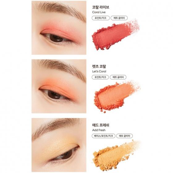 Bảng phấn mắt má hồng tạo khối Missha Glow 2 Color Filter Shadow Palette 11.5g - 07 Coral Like Me