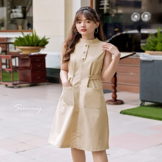 Đầm đai eo đắp túi Kimi - AD190152