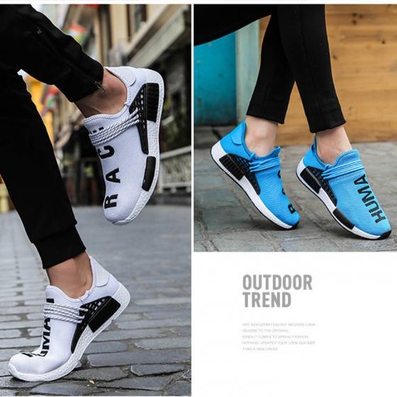 Giày lười nam nữ unisex siêu nhẹ chống sốc bao lưới có dây buộc trang trí