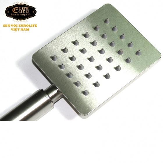 Bộ dây tay sen Inox SUS 304 vuông Eurolife EL-111SH-N (trắng vàng)
