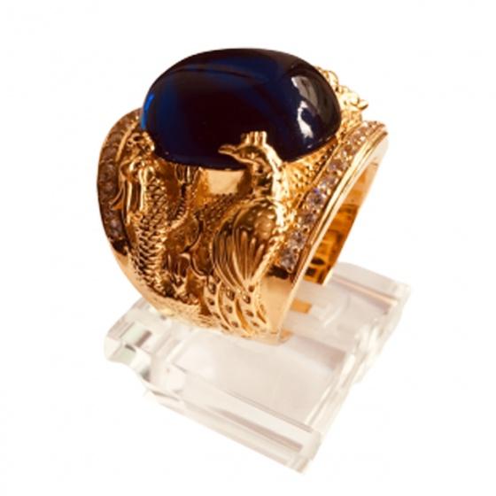 Nhẫn nam đá thạch anh mạ vàng 18k - RM01067