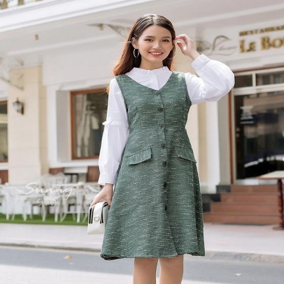 Đầm cổ v cài nút trước Kimi - AD190156