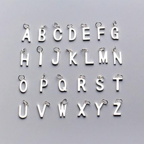 Charm bạc trơn 26 chữ cái treo