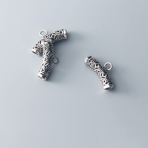 Charm bạc hình đốt trúc họa tiết đồng tiền treo