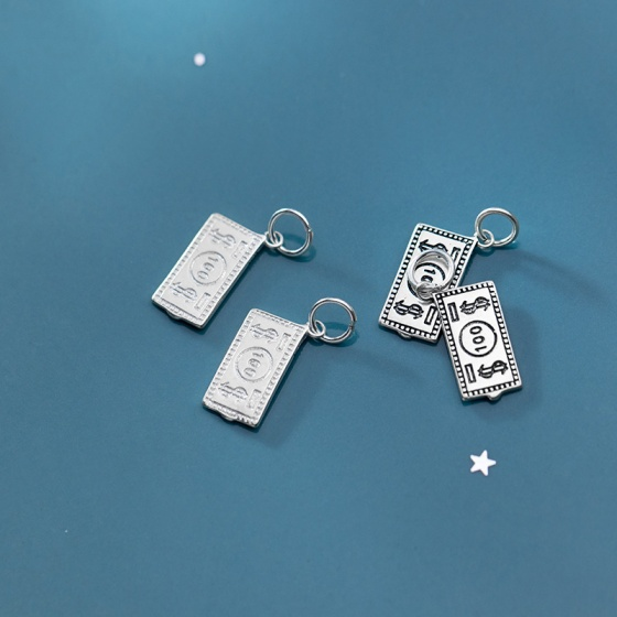 Charm bạc tiền giấy 100 đô treo bạc trắng