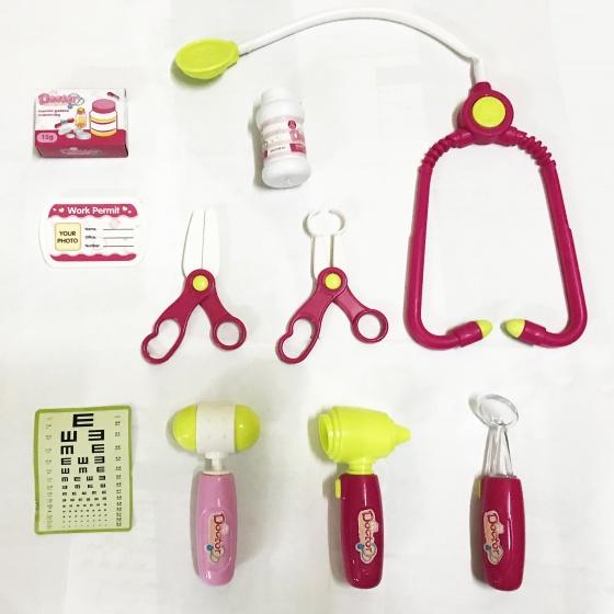 Bộ đồ chơi bác sĩ - Màu hồng có đèn báo (quai xách vuông)