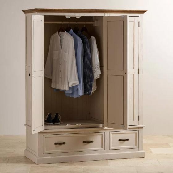 Tủ quần áo Sark 3 cánh 2 ngăn kéo gỗ sồi 1m8