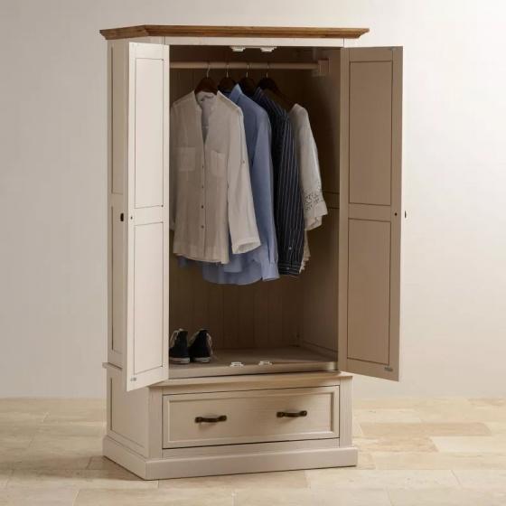 Tủ quần áo Sark 2 cánh 1 ngăn kéo gỗ sồi 1m2