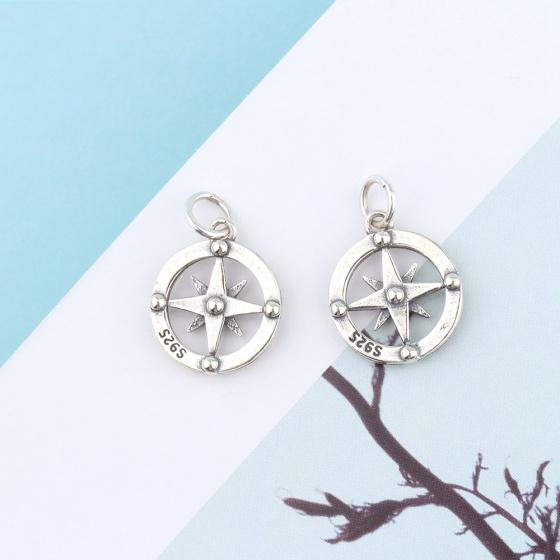 Charm bạc tròn hình la bàn treo - Ngọc Quý Gemstones