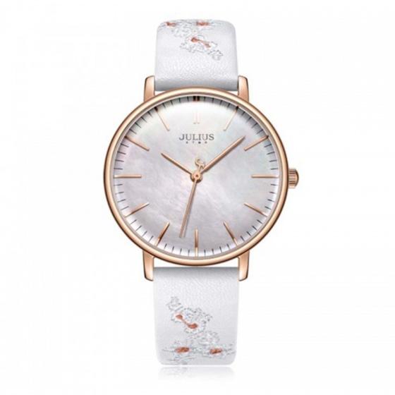 Đồng hồ nữ JS-017 Julius Star Hàn Quốc dây da thêu hoa nổi