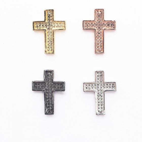 Charm hợp kim đính đá thánh giá xỏ ngang màu đen