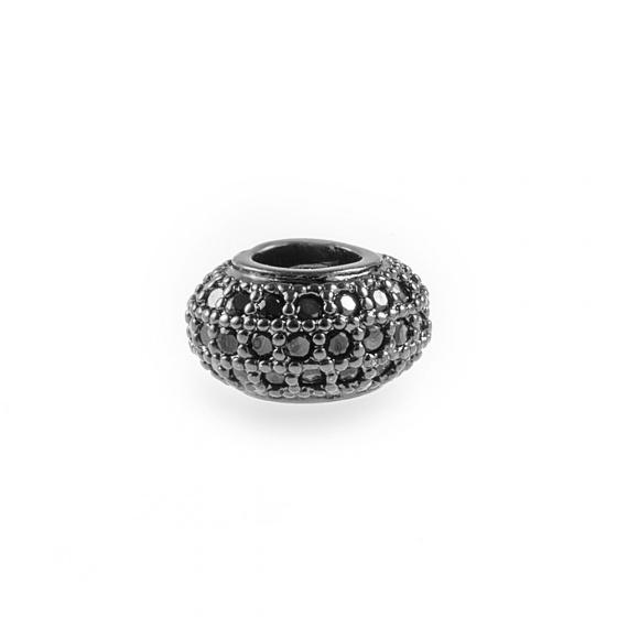 Charm hợp kim tròn đính đá xỏ ngang màu đen 10mm