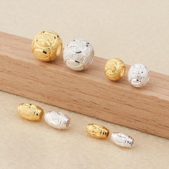 Charm bạc hạt ô liu mạ vàng 6mm