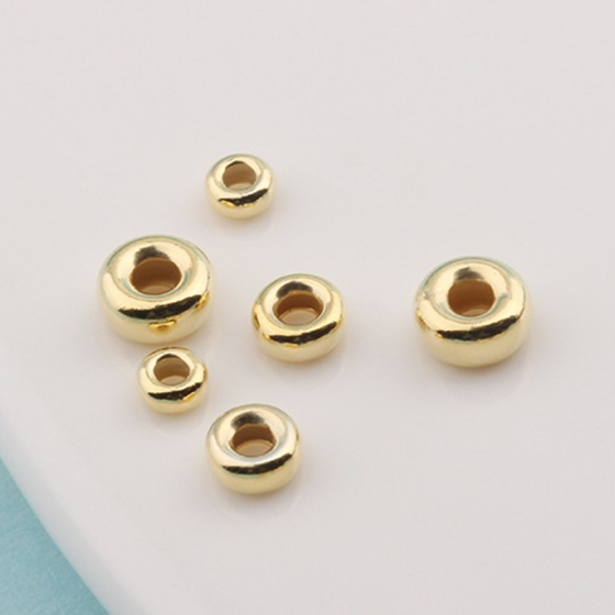 Charm bi bạc mạ vàng hạt dẹp - hạt cườm bạc mạ vàng 5mm