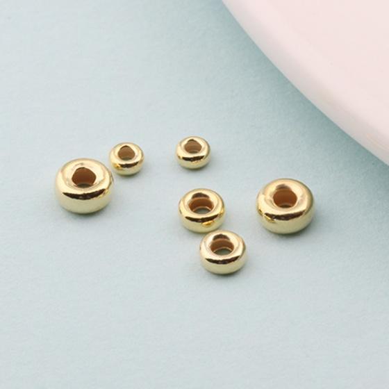 Charm bi bạc mạ vàng hạt dẹp - hạt cườm bạc mạ vàng 4mm