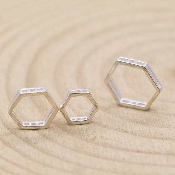 Charm bạc hình lục giác rỗng 12mm