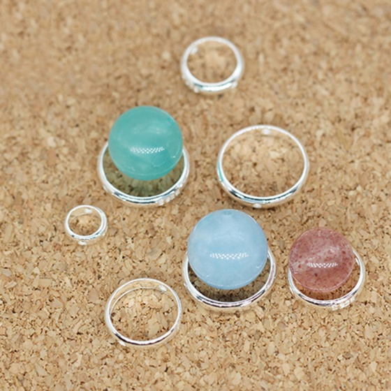 Charm bạc vòng viền tròn hạt đính giữa 3