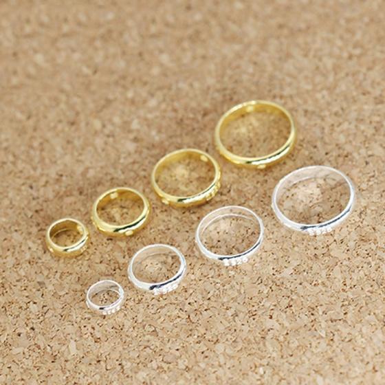 Charm bạc vòng viền tròn hạt đính giữa mạ vàng 4