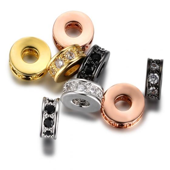 Charm hợp kim chặn hạt mạ vàng đính đá 3x8mm