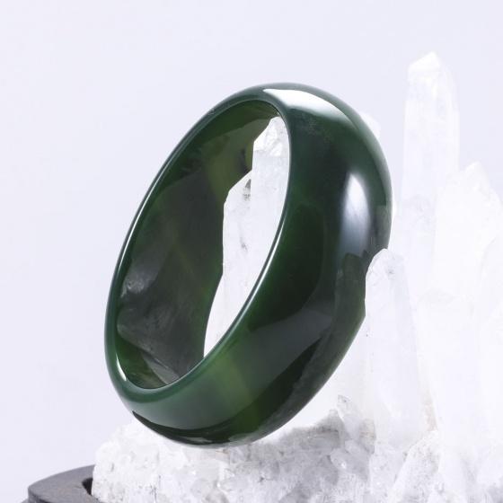 Vòng tay đá mã não xanh bản hẹ dày ni 58 mệnh hoả, mộc - Ngọc Quý Gemstones