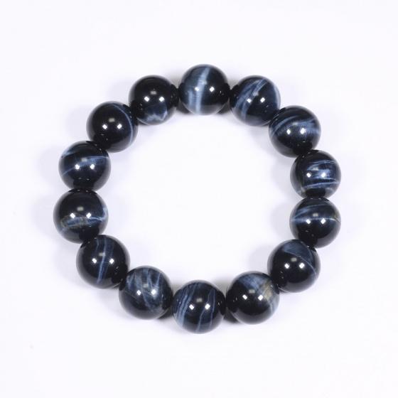 Vòng tay nam đá thạch anh mắt ưng xanh đen AAA 14mm mệnh thủy, mộc - Ngọc Quý Gemstones