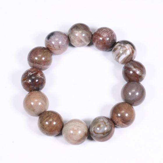 Vòng tay nam đá gỗ hóa thạch 16mm mệnh hỏa, mộc - Ngọc Quý Gemstones