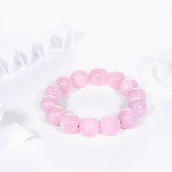 Vòng tay đá thạch anh hồng AAA 13.5mm mệnh hỏa, thổ - Ngọc Quý Gemstones
