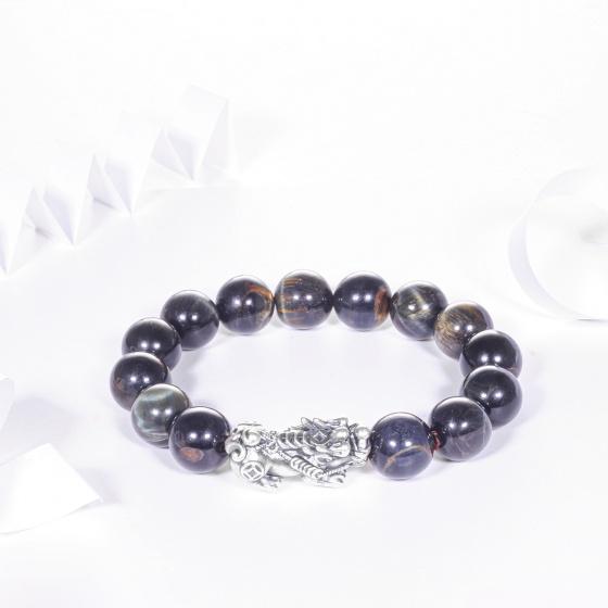 Vòng tay đá đá mắt hổ xanh đen mix tỳ hưu bạc 12mm mệnh thủy, mộc - Ngọc Quý Gemstones