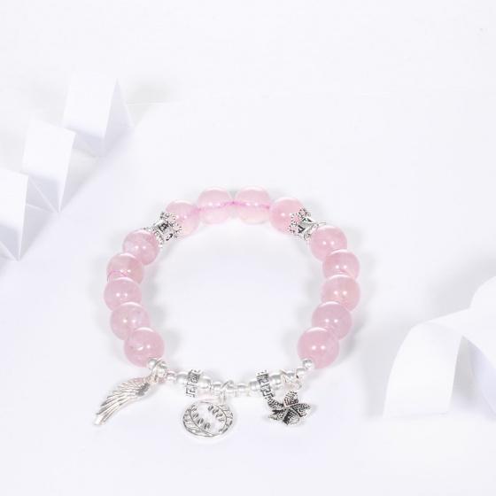 Vòng tay đá thạch anh hồng AAA mix charm lục tự đại mình chú bạc 10mm mệnh hỏa, thổ - Ngọc Quý Gemstones