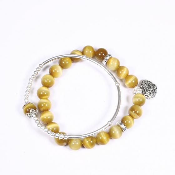 Vòng tay đá thạch anh mắt hổ vàng mix túi cát tường bạc hạt đá 8mm mệnh thổ, kim - Ngọc Quý Gemstones