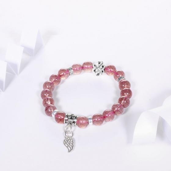 Vòng tay đá thạch anh dâu hồng mix charm cánh bạc hạt đá 8mm mệnh hỏa, thổ - Ngọc Quý Gemstones