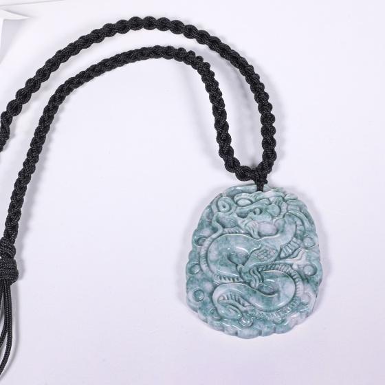 Mặt dây chuyền đá cẩm thạch phỉ thúy chạm hình rồng mệnh hỏa, mộc - Ngọc Quý Gemstones