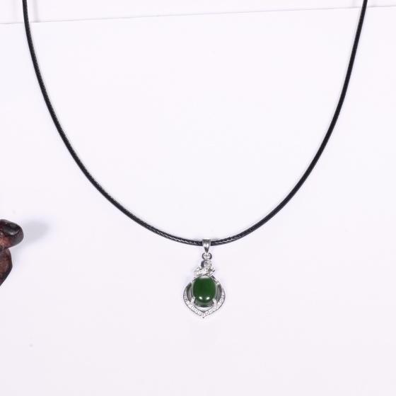 Mặt dây chuyền hoa văn đá ngọc bích 22.8 x 13.7mm mệnh hỏa, mộc - Ngọc Quý Gemstones