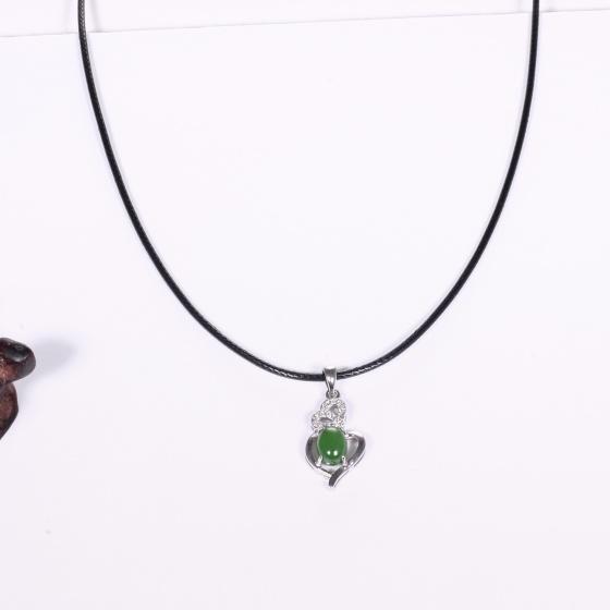 Mặt dây chuyền hoa văn đá ngọc bích 19 x 13mm mệnh hỏa, mộc - Ngọc Quý Gemstones