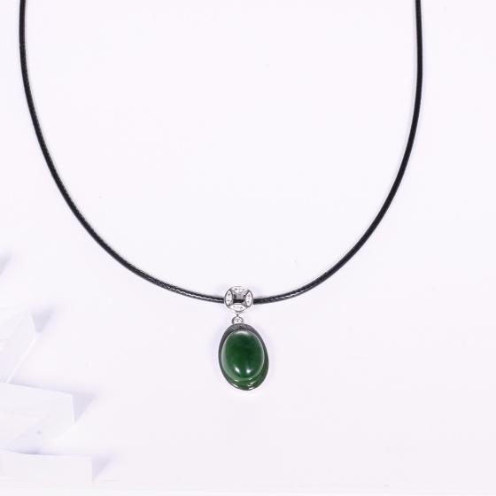 Mặt dây chuyền hoa văn thời trang đá ngọc bích mệnh hỏa, mộc - Ngọc Quý Gemstones