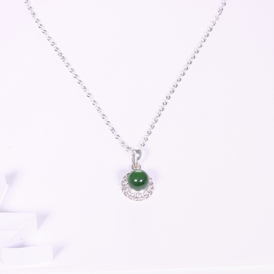 Mặt dây chuyền bạc hạt tròn đá ngọc bích mệnh hỏa, mộc - Ngọc Quý Gemstones