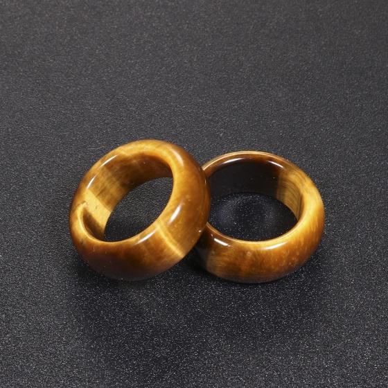 Nhẫn nam đá thạch anh mắt hổ vàng nâu ni 21 mệnh thổ, kim - Ngọc Quý Gemstones