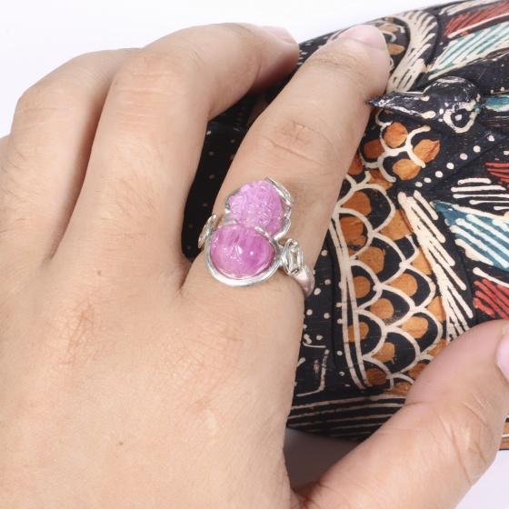Nhẫn bạc tỳ hưu đá ruby ni 18 mệnh hỏa, thổ - Ngọc Quý Gemstones