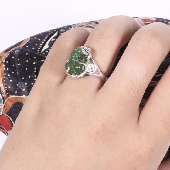 Nhẫn bạc tỳ hưu đá ngọc bích ni 17 mệnh hỏa, thổ - Ngọc Quý Gemstones