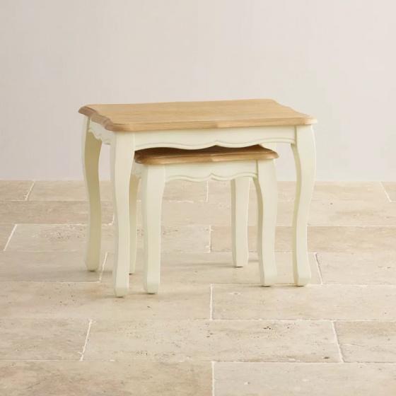Bộ bàn xếp lồng Skye gỗ sồi - Cozino