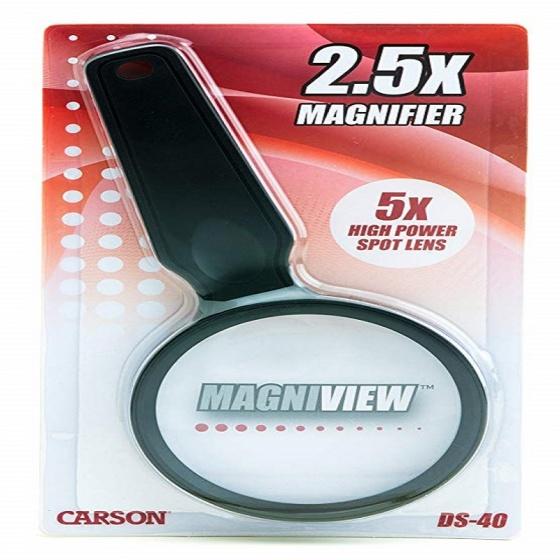 Kính lúp cầm tay cao cấp Carson MagniView DS-40 2.5x(5x) - hàng chính hãng