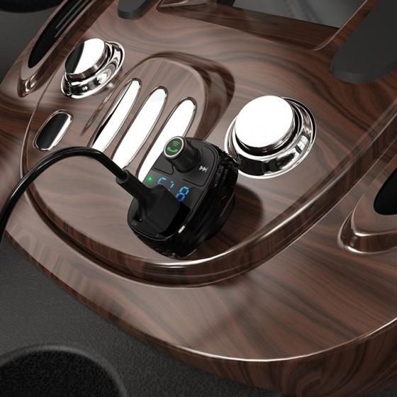 Máy phát FM kèm cóc sạc xe hơi Borofone BC16, BC-16 2 cổng USB hỗ trợ thẻ nhớ 32GB