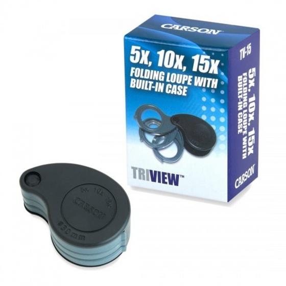 Kính lúp cầm tay bỏ túi Carson Triview TV-15 (5x - 10x - 15x) - hàng chính hãng
