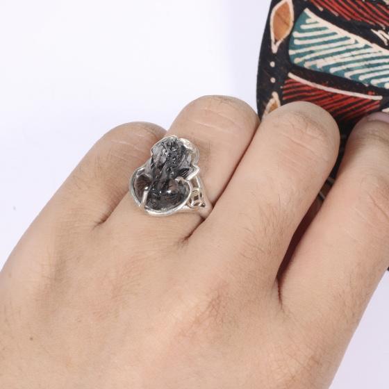 Nhẫn bạc tỳ hưu đá thạch anh tóc đen ni 17 mệnh thủy, mộc - Ngọc Quý Gemstones